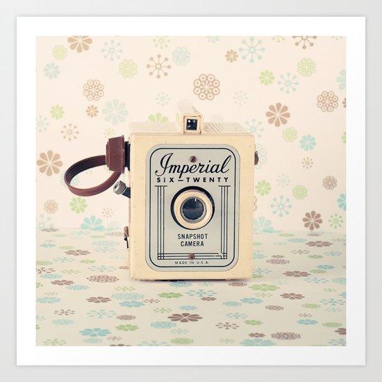 Retro Film Camera on Beige - Cream Pattern Background  Art Print