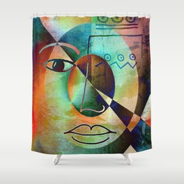 Philosophy Of Life - ART Drawing - red green blue Shower Curtain