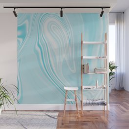 Blue Turquoise Liquid Marble Wall Mural