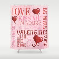 valentines Shower Curtains featuring Valentines Day Typography by Debbie DeWitt