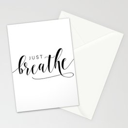 JUST BREATHE PRINT, Inhale Exhale,And Breathe,Relax Sign,Workout Art,Fitness Decoration,Modern Art Stationery Cards