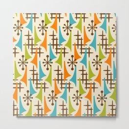 Retro Mid Century Modern Atomic Wing Pattern 421 Brown Orange Turquoise and Olive Green Metal Print