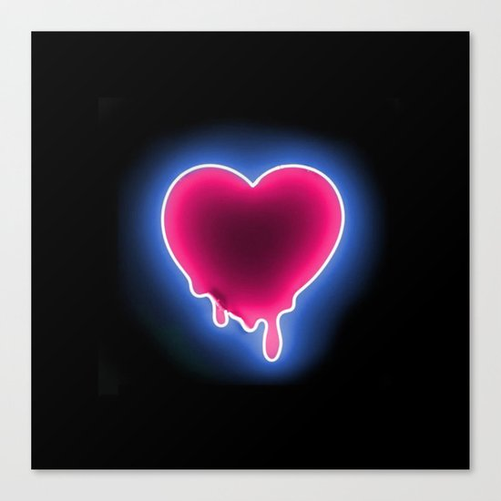 Heart // Neon Canvas Print