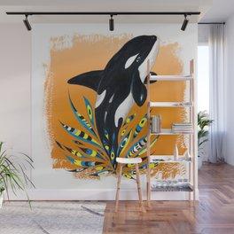 Cute Orca Whale Orange Doodle Splash Wall Mural