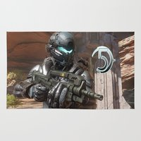 guardians Area & Throw Rugs featuring Halo5 Guardians by ezmaya