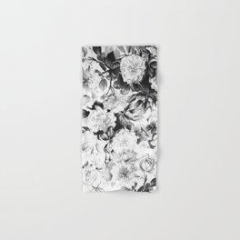 Black gray modern watercolor roses floral pattern Hand & Bath Towel