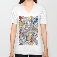 mondrian V-neck T-shirts featuring Berlin mondrian by Mondrian Maps