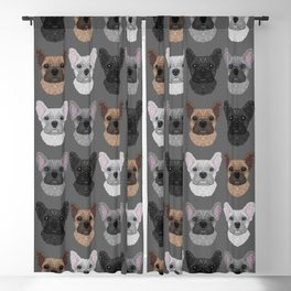 Frenchie Pattern Grey Blackout Curtain