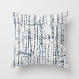 Abstract Woodland Landscape in Blue and Gray Throw Pillow