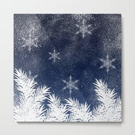 Winter white snow pine trees navy blue Christmas Metal Print