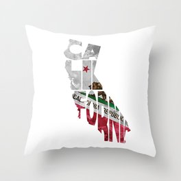 California Typographic Flag Map Art Throw Pillow