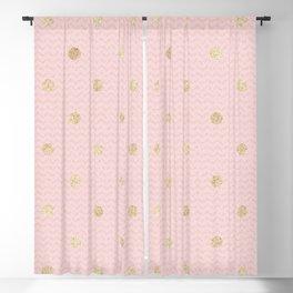 Elegant pink gold glitter geometric polka dots Blackout Curtain