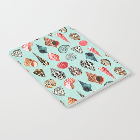 Seashells ocean nautical beach seaside children kids baby home dec shell illustration Andrea Lauren Notebook