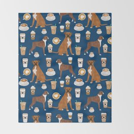Boxer dog breed coffee pet gifts boxers pupuccino Throw Blanket