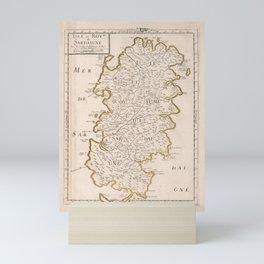 Vintage Sardinia Italy Map (1697) Mini Art Print