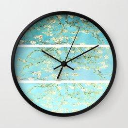 Vincent Van Gogh Almond Blossoms  Panel arT Aqua Seafoam Wall Clock