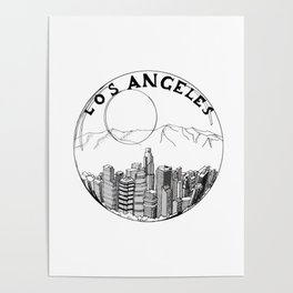 Los Angeles city in a glass ball 2  Home Decor Graphicdesign Poster