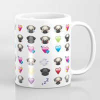 emoji Mugs featuring Emoji Pug  by Huebucket