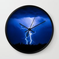 lightning Wall Clocks featuring Lightning by On Eagles Wings