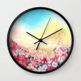 Angels and roses Wall Clock