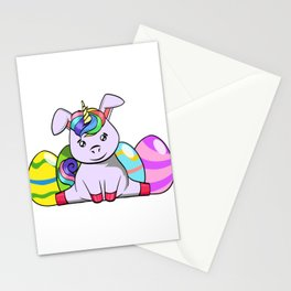 "Cool Unicorn Shirt For Mommies ""Happy Easter"" T-shirt Design Palm Rabbit Jump Eggs Easter Stationery Cards"
