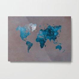 world map 104 blue #worldmap #map Metal Print