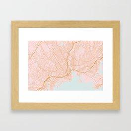 Bridgeport map, Connecticut Framed Art Print