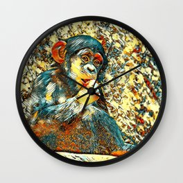 AnimalArt_Chimpanzee_20170605_by_JAMColorsSpecial Wall Clock