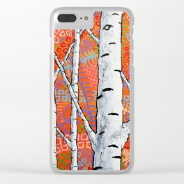 Sunset Sherbert Birch Forest by Mike Kraus - art birch aspen trees forests woods nature decoration Clear iPhone Case