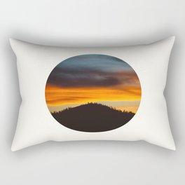 Mid Century Modern Round Circle Photo Graphic Design Orange And Blue Sunset Pine Forest Hill Rectangular Pillow
