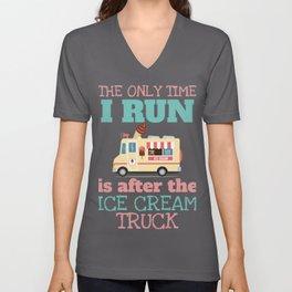 Funny Summer Shirt Run for the Ice-cream Truck Unisex V-Neck