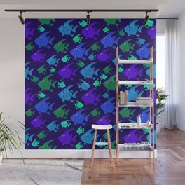 Cartoon Fish In Blues And Greens. Wall Mural