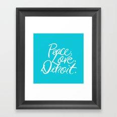 Turquiose Peace. Love. Detroit. Framed Art Print