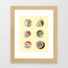 Sushi - Yellow Framed Art Print