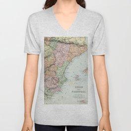Vintage Map of Spain and Portugal Unisex V-Neck
