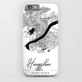 Hangzhou Area City Map, Hangzhou Circle City Maps Print, Hangzhou Black Water City Maps iPhone Case