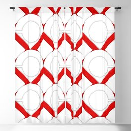White Circles And Red Squares Abstract Geometric Pattern Blackout Curtain