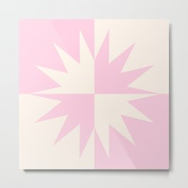 Modern Grid Sun Burst Yin Yang Balance Design Pink and Cream Metal Print