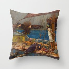 John William Waterhouse - Ulysses and the Sirens Throw Pillow