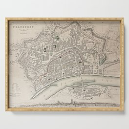 19th Century Topographical Vintage Antique Map Frankfurt Germany Steampunk Serving Tray