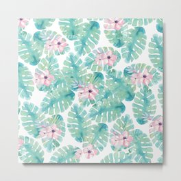 Modern summer tropical blush pink green watercolor floral Metal Print
