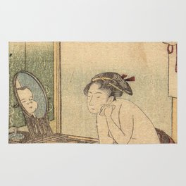 Hokusai, the toilet of a woman- manga, japan,hokusai,japanese,北斎,ミュージシャン Rug