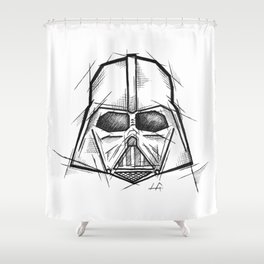 Darth Vader Handmade Drawing, Made in pencil, charcoal and ink, Tattoo Sketch, Tattoo Flash, Sketch Shower Curtain
