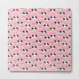 cats unicorns and a rainbow. unicorn cats on a pink background. Metal Print