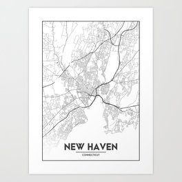 Minimal City Maps - Map Of New Haven, Connecticut, United States Art Print