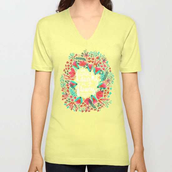 The Earth Laughs in Flowers – Pink & Charcoal Unisex V-Neck