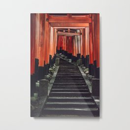 Red Arches of Fushimi Inari-taisha. Kyoto, Japan. Culture Travel Print - Photography Wall Art.  Metal Print