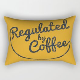 Regulated by Coffee // Caffeine Addict Typography Cafe Barista Humor Retro Vintage Quotes Rectangular Pillow