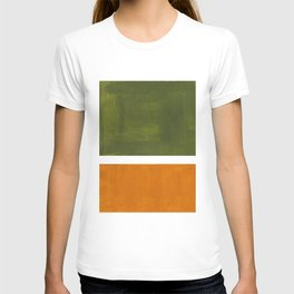 Olive Green Yellow Ochre Minimalist Abstract Colorful Midcentury Pop Art Rothko Color Field T-Shirt