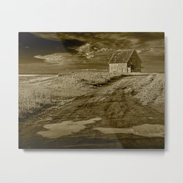 Sepia Toned Abandoned Farm building along the coast on Prince Edward Island Metal Print